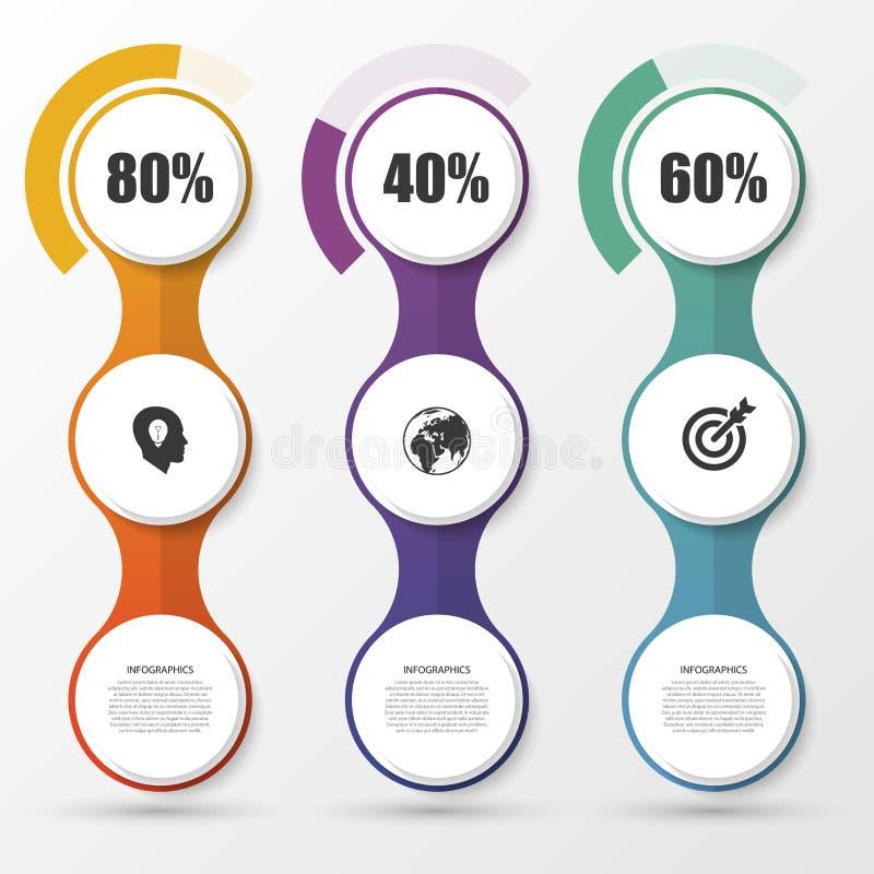 Elementi di progettazione di presentazione del diagramma di percentuale Infographics Vettore illustrazione di stock