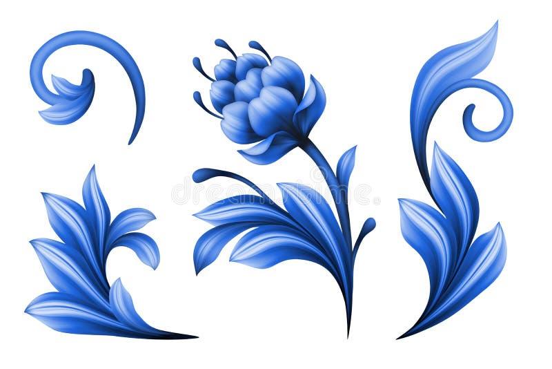 Elementi di progettazione floreale isolati su fondo bianco illustrazione vettoriale