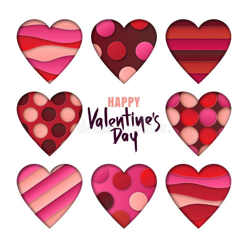 Elementi di progettazione di giorno di biglietti di S. Valentino L'insieme dei cuori con la carta dell'estratto 3d ha tagliato le illustrazione di stock