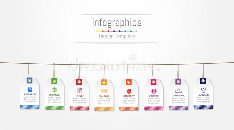 Elementi di progettazione di Infographic per i vostri dati di gestione con 8 opzioni royalty illustrazione gratis