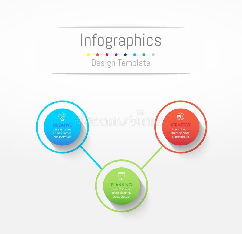 Elementi di progettazione di Infographic per i vostri dati di gestione con 3 opzioni illustrazione vettoriale