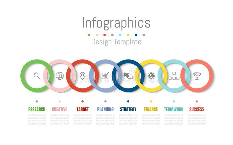 Elementi di progettazione di Infographic per i vostri dati di gestione con 8 opzioni, parti, punti, cronologie o processi Vettore illustrazione vettoriale