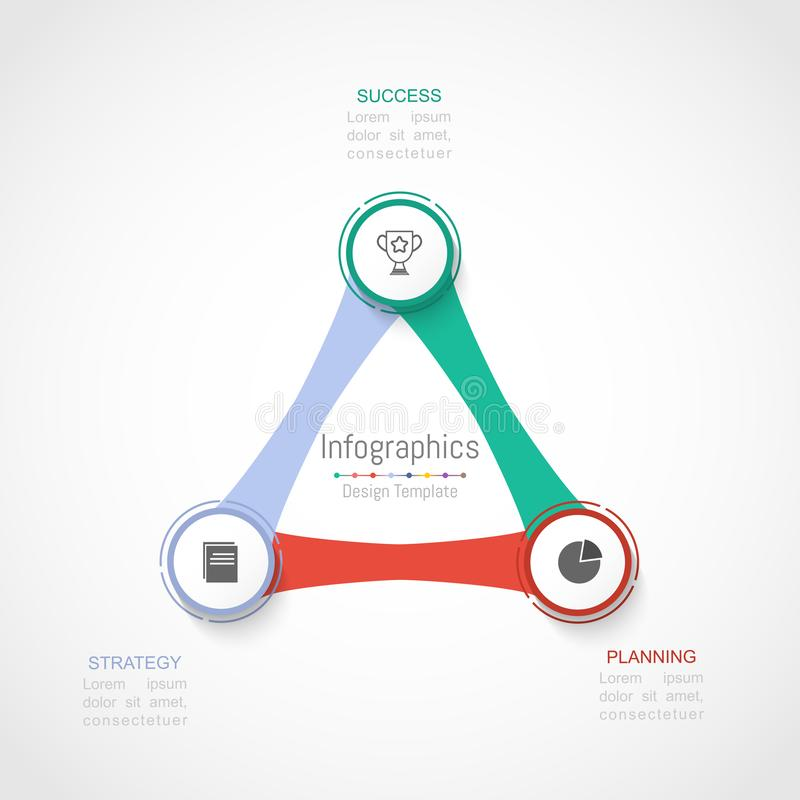 Elementi di progettazione di Infographic per i vostri dati di gestione con 3 opzioni, parti, punti, cronologie o processi Vettore royalty illustrazione gratis