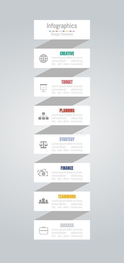 Elementi di progettazione di Infographic per i vostri dati di gestione con 7 opzioni, parti, punti, cronologie o processi Vettore illustrazione vettoriale