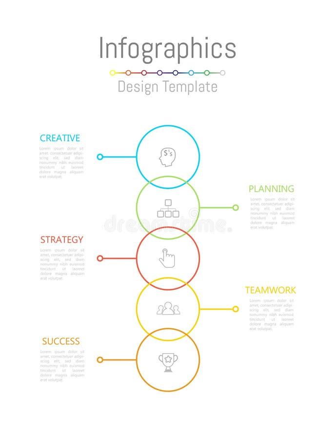Elementi di progettazione di Infographic per i vostri dati di gestione con 5 opzioni, parti, punti, cronologie o processi Vettore illustrazione di stock