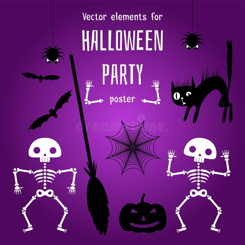 Elementi di progettazione per la creazione un manifesto di Halloween illustrazione di stock