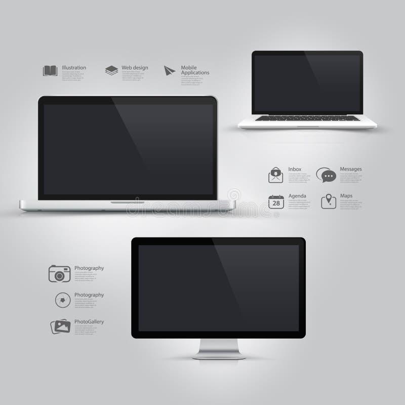 Elementi di progettazione UI di Infographics: Attrezzatura informatica: Computer, taccuino, monitor ed icone messi. immagini stock libere da diritti