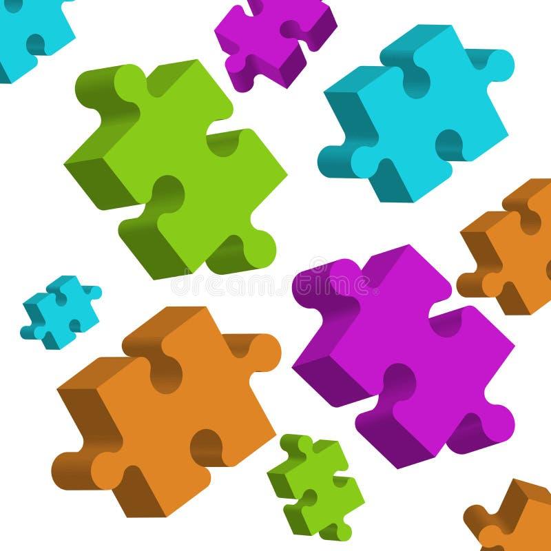 elementi di puzzle 3D su fondo bianco, sparso a caso immagine stock libera da diritti
