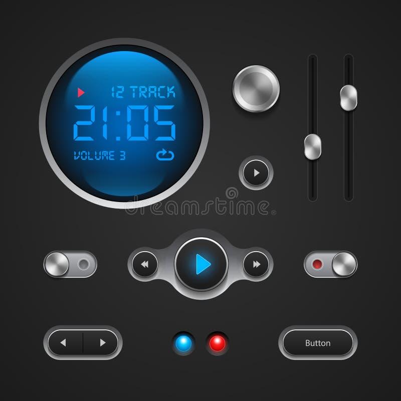 Elementi di qualità superiore dell'interfaccia utente: Bottoni, scambisti, sopra, fuori, giocatore, audio, video: Gioco, fermata, illustrazione di stock