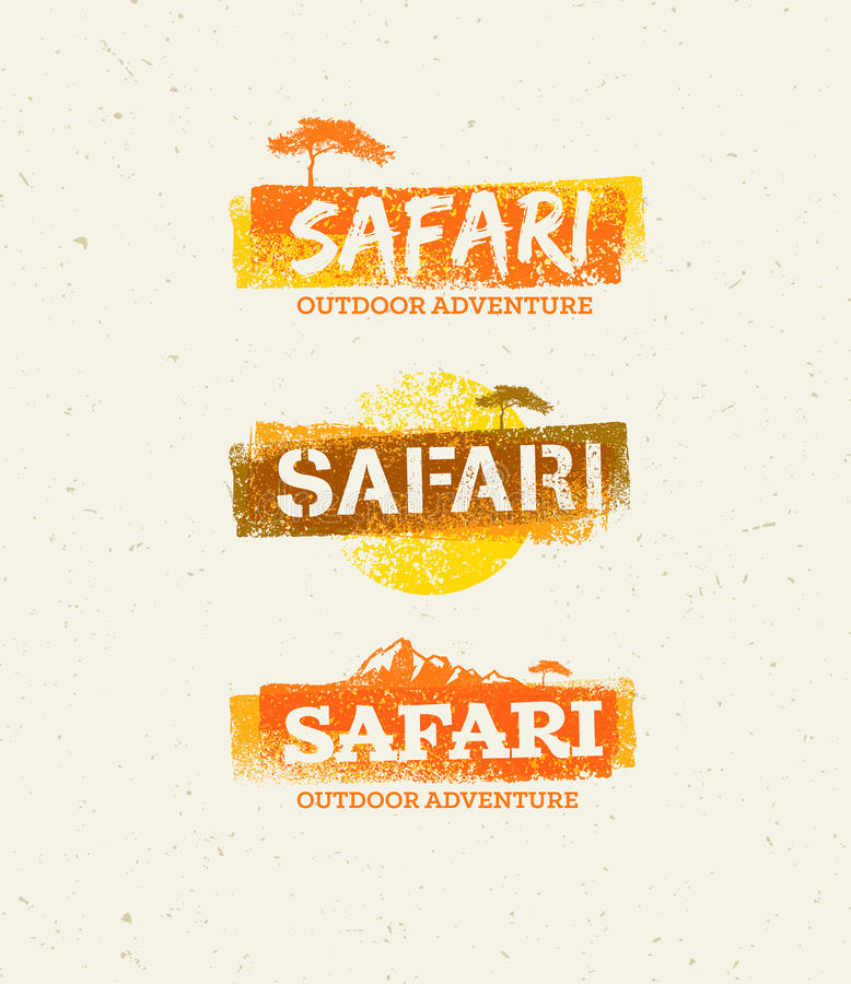 Elementi di Safari Outdoor Adventure Vector Design Concetto naturale di lerciume su fondo di carta riciclato illustrazione di stock