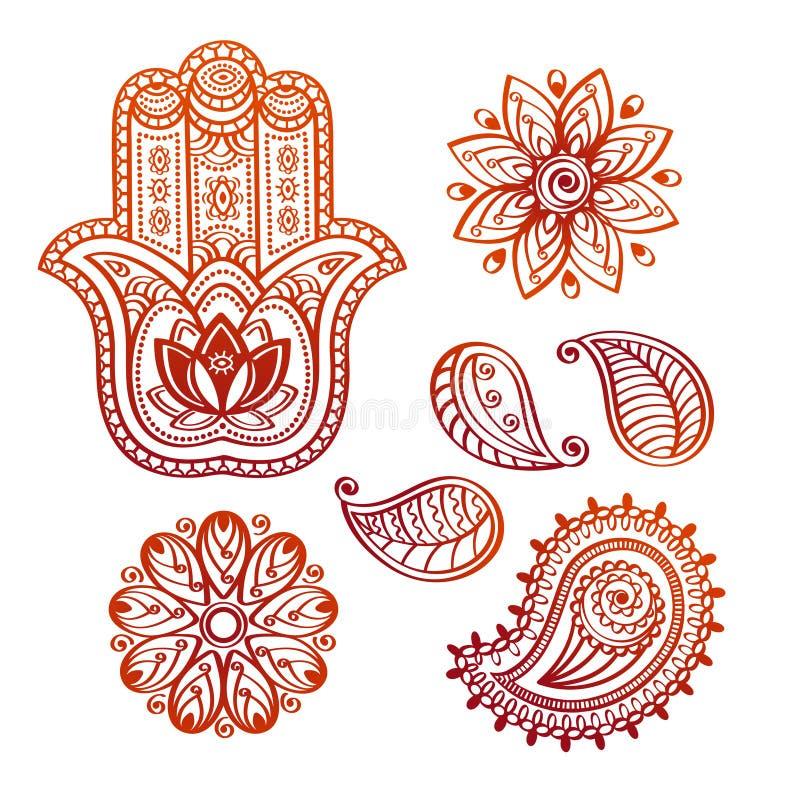 Elementi di scarabocchio del tatuaggio di Mehndi con la mano di hamsa, il loto indiano e Paisley illustrazione vettoriale