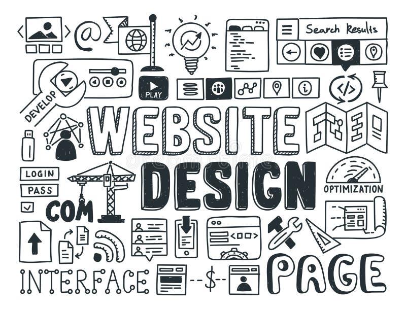 Elementi di scarabocchio di progettazione del sito Web illustrazione di stock