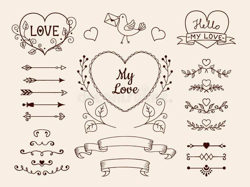 Elementi di scarabocchio per progettazione di nozze o del biglietto di S. Valentino Frecce disegnate a mano, cuori, divisori, ins illustrazione vettoriale