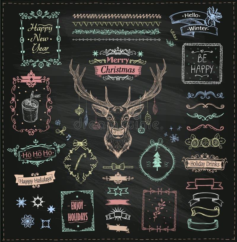 Elementi di schizzo disegnato a mano di Natale e del nuovo anno del gesso illustrazione di stock