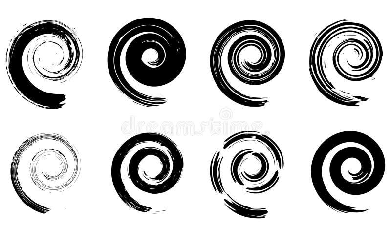 Elementi di spirale di vettore dell'estratto, modelli geometrici radiali illustrazione di stock