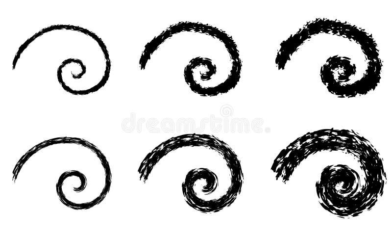 Elementi di spirale di vettore dell'estratto, modelli geometrici radiali illustrazione vettoriale