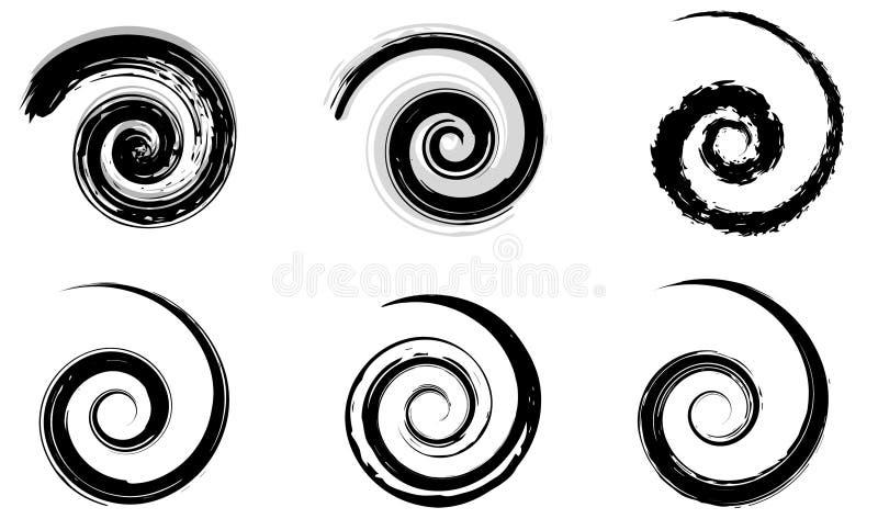 Elementi di spirale di vettore dell'estratto, modelli geometrici radiali royalty illustrazione gratis