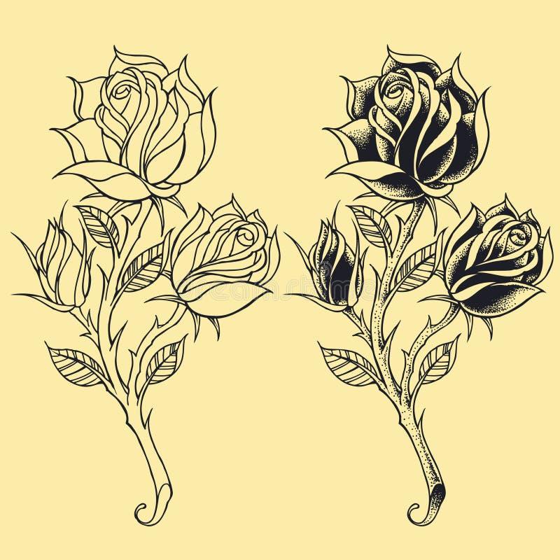 Elementi 02 di stile del tatuaggio di Oldskool delle rose illustrazione di stock