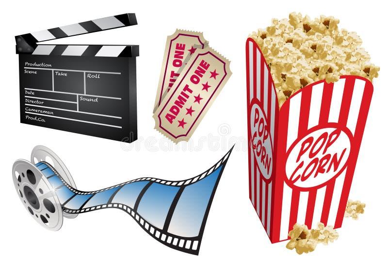 Elementi di tema ed icone di disegno di film royalty illustrazione gratis