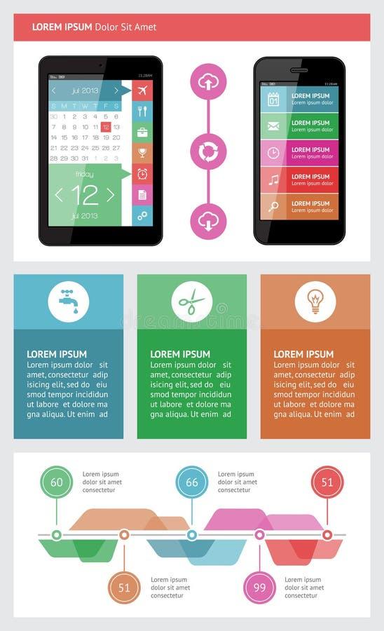 Elementi di Ui, di infographics e di web compreso la d piana illustrazione vettoriale
