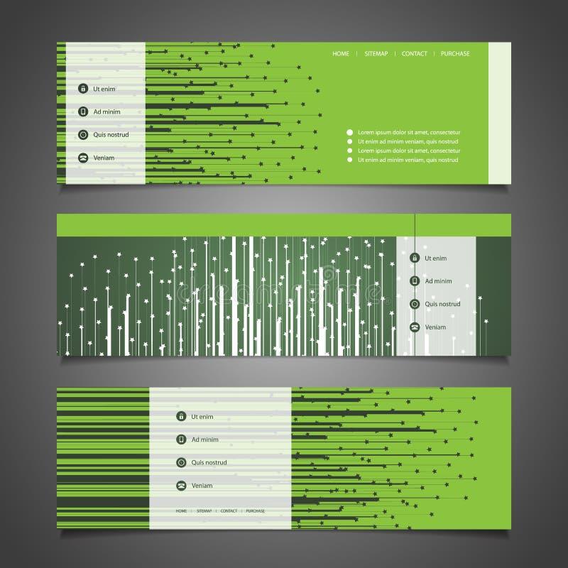 Elementi di web design - progettazioni dell'intestazione con le stelle illustrazione vettoriale