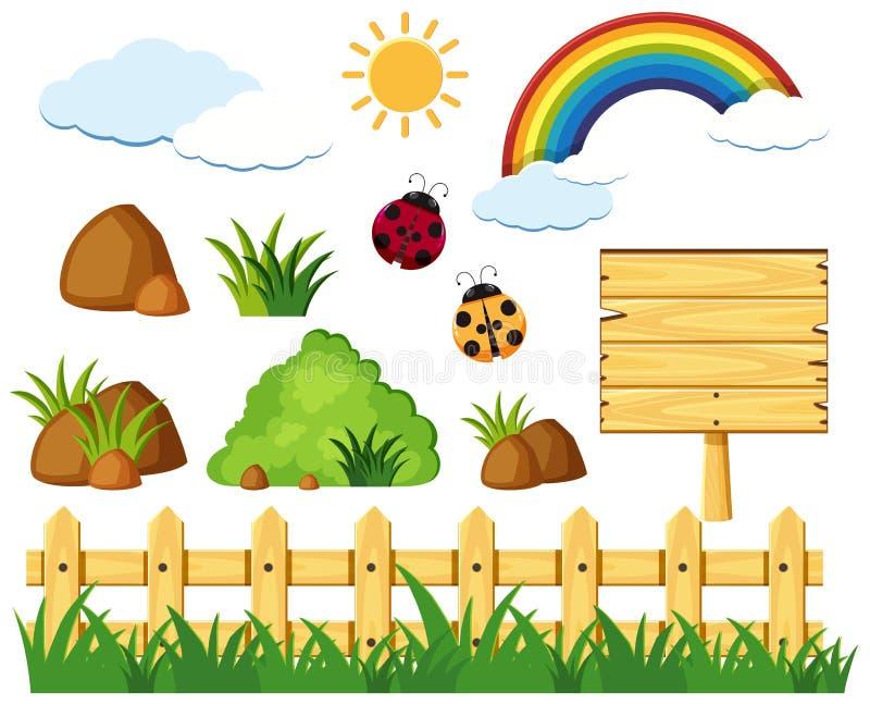 Elementi differenti della natura nel parco illustrazione vettoriale