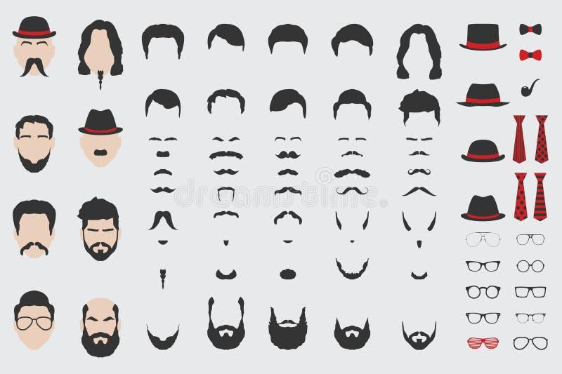 Elementi differenti di progettazione di vettore del fronte, della barba, dei baffi, dei capelli, del legame e dei vetri degli uom illustrazione vettoriale