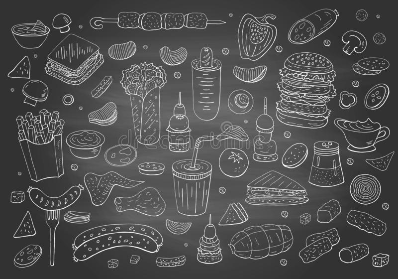 Elementi disegnati a mano d'annata degli alimenti a rapida preparazione sulla lavagna royalty illustrazione gratis