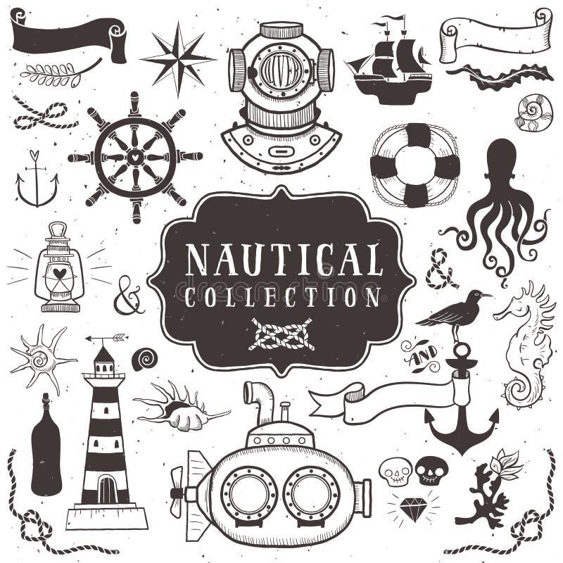 Elementi disegnati a mano d'annata nello stile nautico volume 1 illustrazione di stock