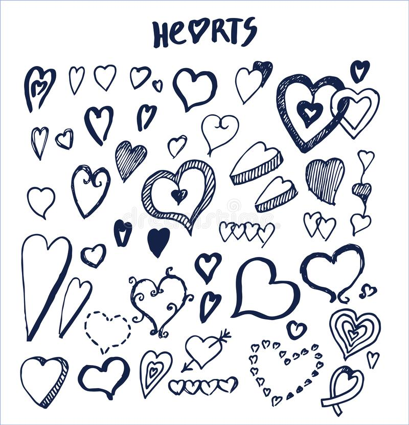 Elementi disegnati a mano dei cuori scritti dalla penna royalty illustrazione gratis