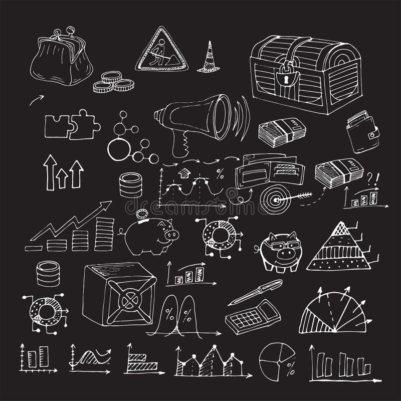 Elementi disegnati a mano dei guadagni di analisi dei dati di finanza di affari di scarabocchio illustrazione di stock
