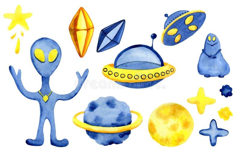 Elementi disegnati a mano dello spazio Insieme dell'acquerello dello spazio Razzi di spazio del fumetto, pianeti, stelle, luna pe fotografie stock