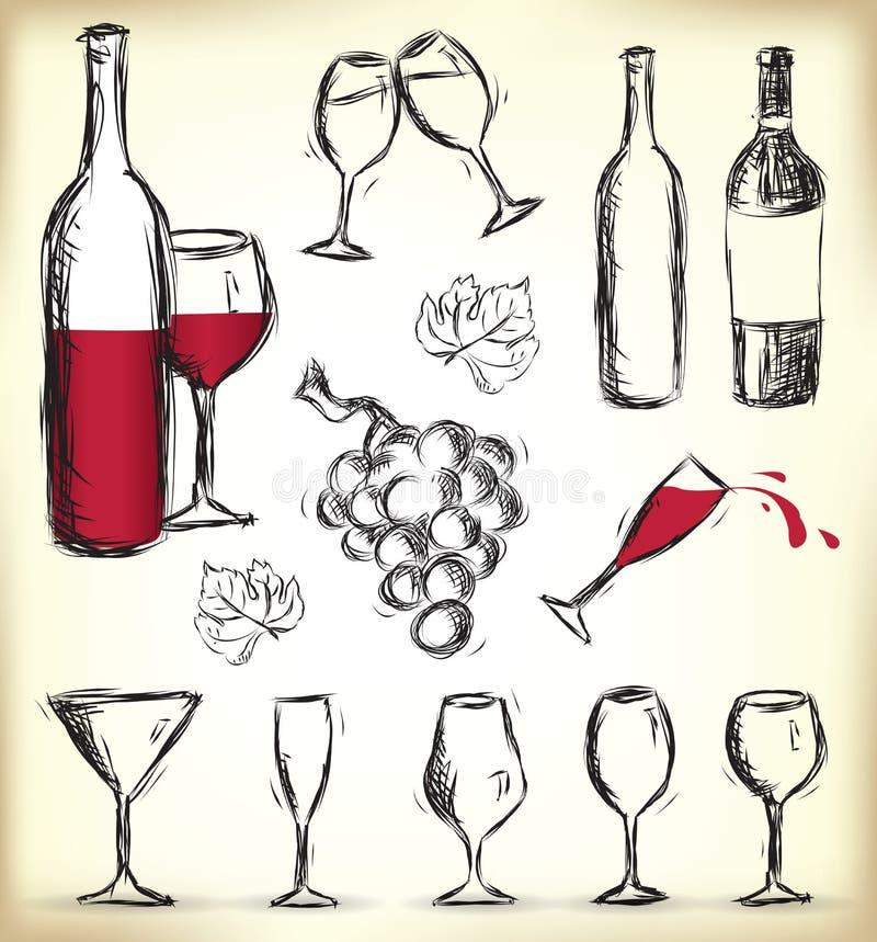 Elementi disegnati a mano di disegno del vino illustrazione vettoriale