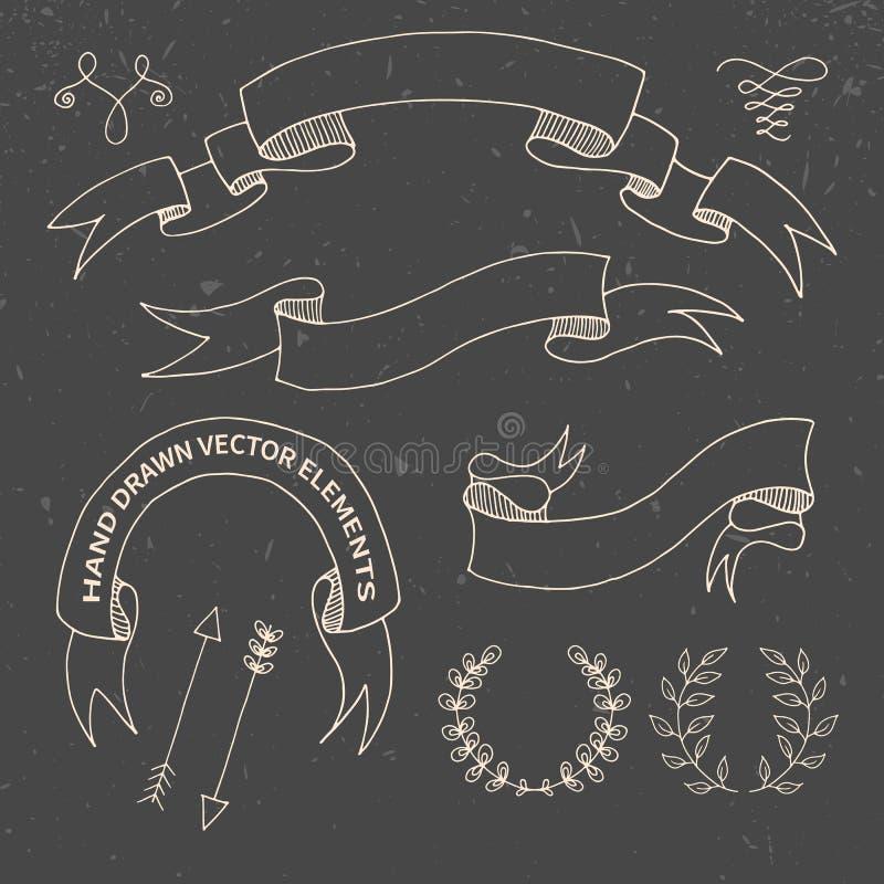 Elementi disegnati a mano di progettazione di scarabocchio decorativo royalty illustrazione gratis