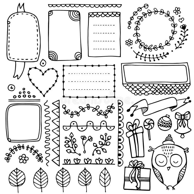 Elementi disegnati a mano di vettore del giornale della pallottola per il taccuino, il diario ed il pianificatore royalty illustrazione gratis