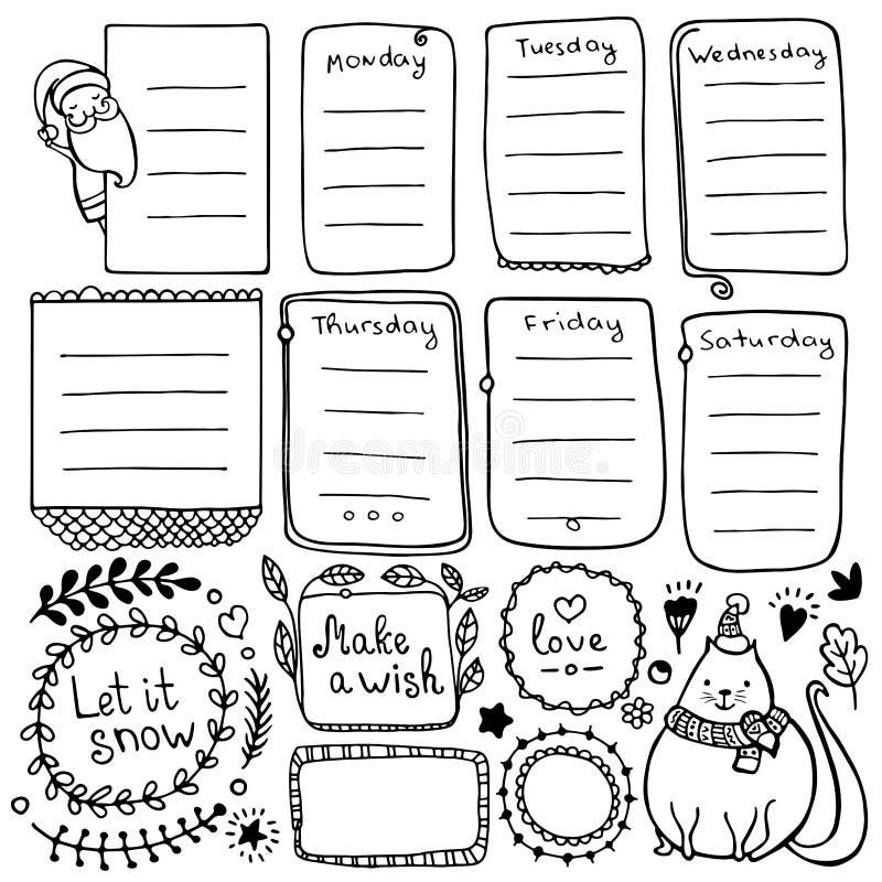 Elementi disegnati a mano di vettore del giornale della pallottola per il taccuino, il diario ed il pianificatore illustrazione vettoriale
