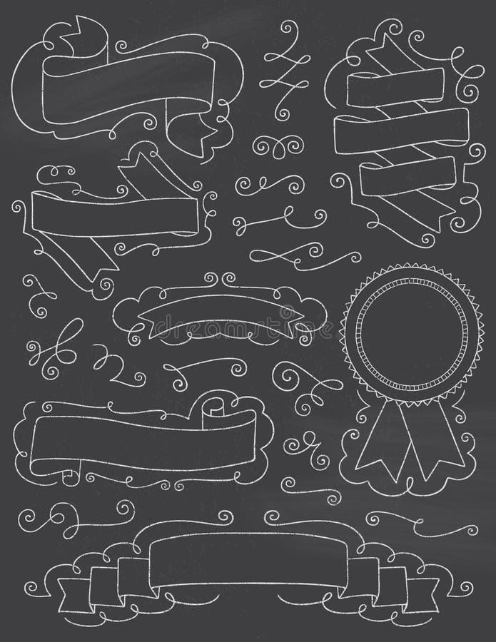 Elementi disegnati a mano nove di progettazione della lavagna d'annata immagini stock libere da diritti