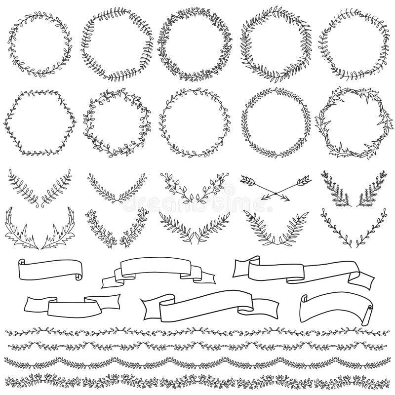 Elementi disegnati a mano per progettazione, confini, corone illustrazione di stock