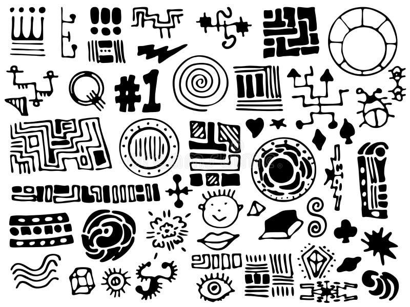 Elementi disegnati a mano unici di disegno illustrazione di stock