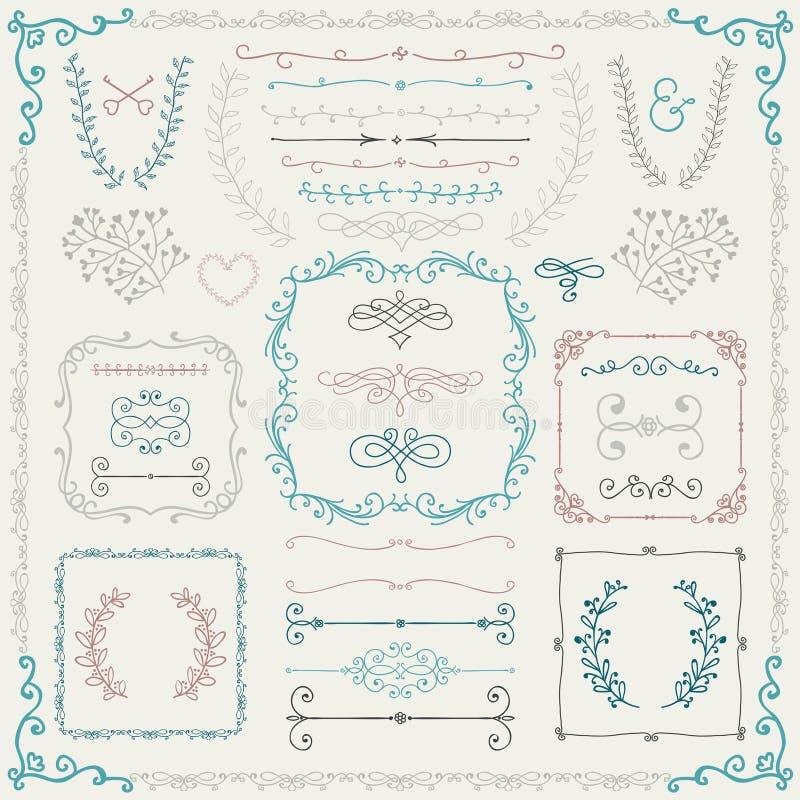 Elementi disegnati a mano variopinti di progettazione illustrazione vettoriale
