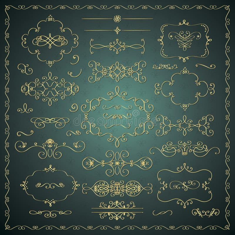 Elementi dorati decorativi disegnati a mano di progettazione di vettore royalty illustrazione gratis