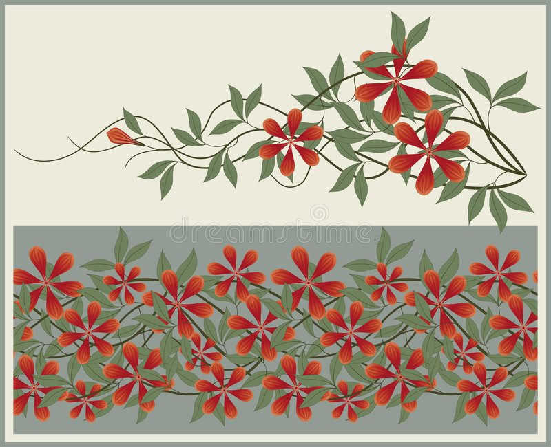 Elementi e bordo floreali. illustrazione vettoriale