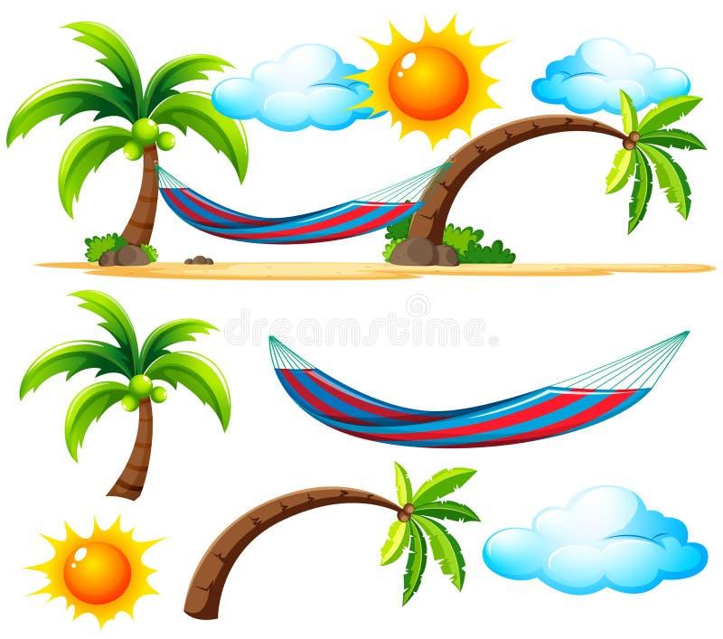 Elementi e scena della spiaggia sulla spiaggia illustrazione di stock