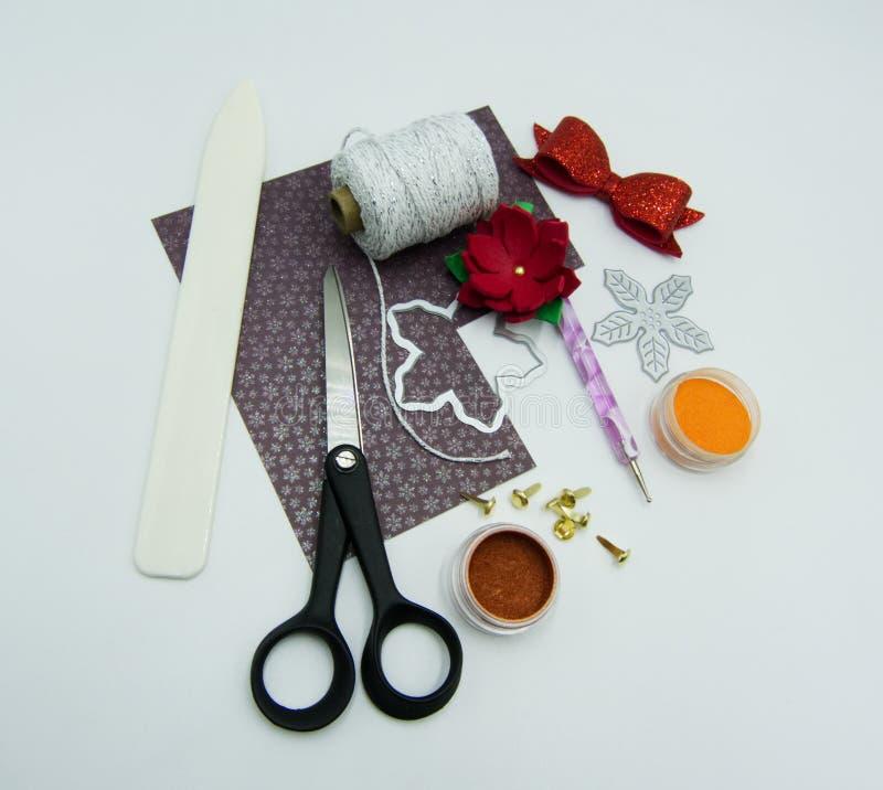 Elementi e strumenti di Scrapbooking fotografia stock