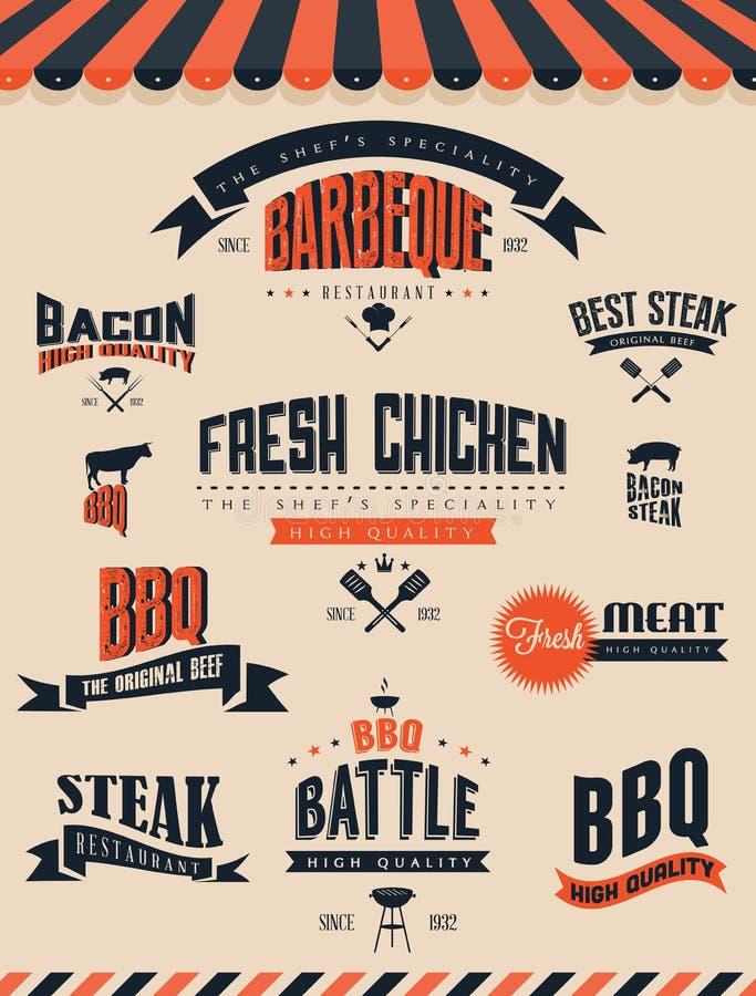 Elementi ed etichette della griglia del BBQ illustrazione vettoriale