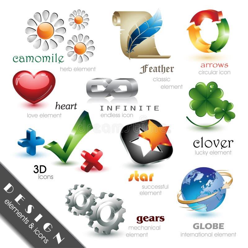 Elementi ed icone di disegno royalty illustrazione gratis