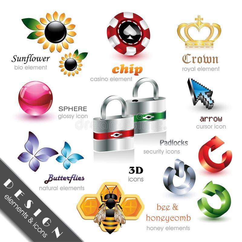 Elementi ed icone di disegno illustrazione vettoriale