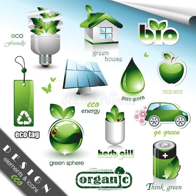 Elementi ed icone di disegno di Eco illustrazione vettoriale