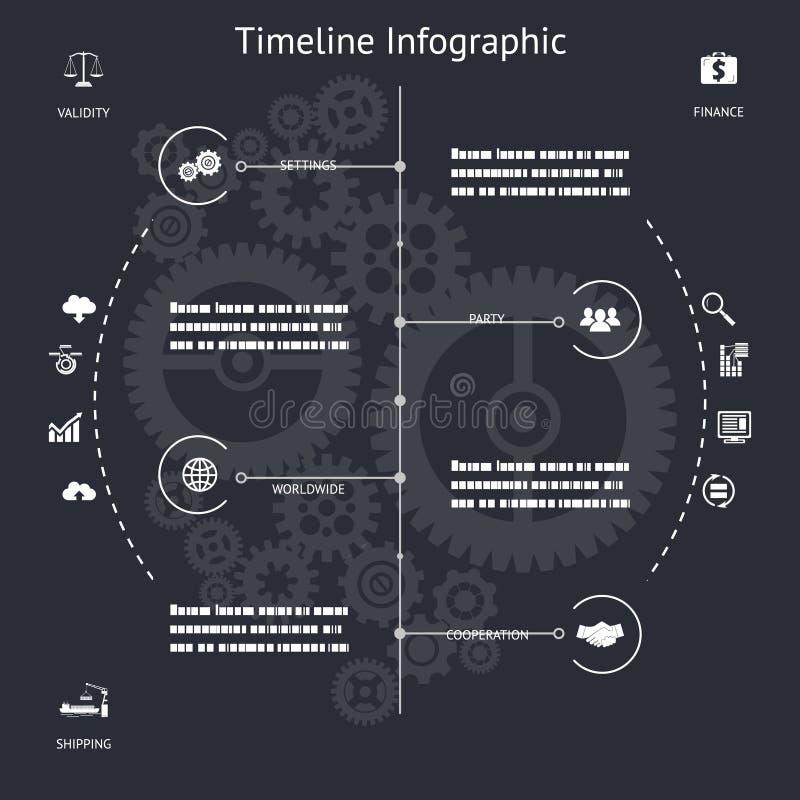 Elementi ed icone di simboli di Infographics di cronologia illustrazione di stock