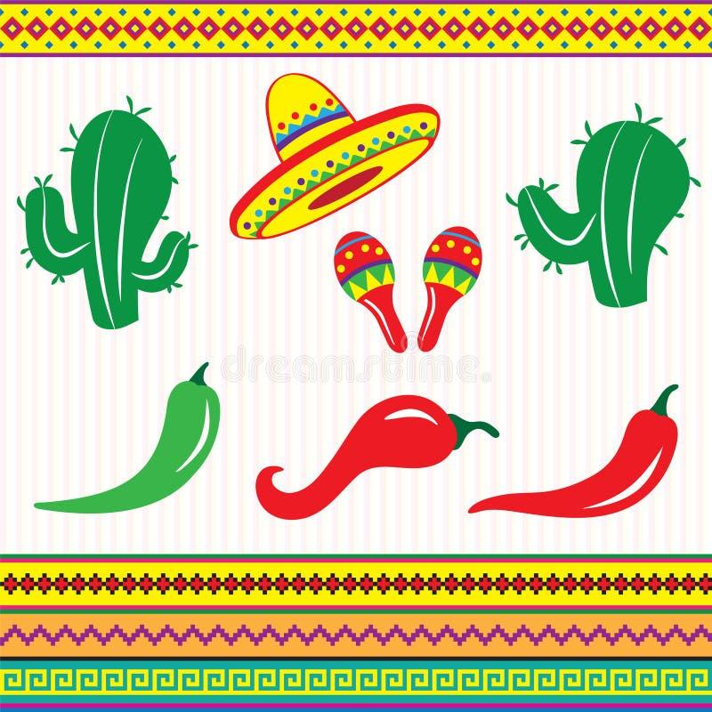 Elementi ed ornamento del Messico immagine stock